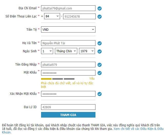 Bảng thông tin đăng ký w88
