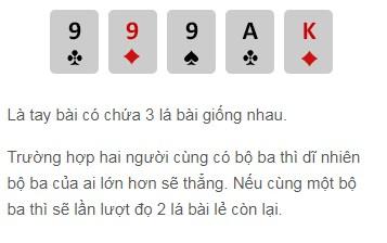 Bộ ba lá trong Poker online W88